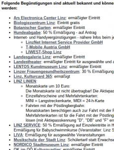 Ruutukaappaus Linzin nettisivulta kertoo aktiivipassin tarjonnasta. Sivulla kerrotaan, että kaupunki haluaa kantaa huolta siitä, että myös vähätuloiset kansalaiset voivat osallistua yhteiskunnalliseen elmään.