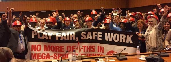 Reilu peli, turvallinen työ (Kuva: Rakennus- ja puutyöläisten kansainvälinen liitto BWI)